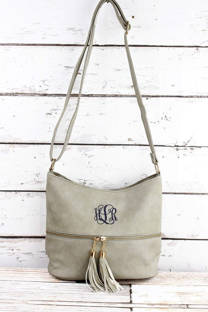 NGIL Gray Faux Leather Double Tassel Zip Pocket Crossbody Bag