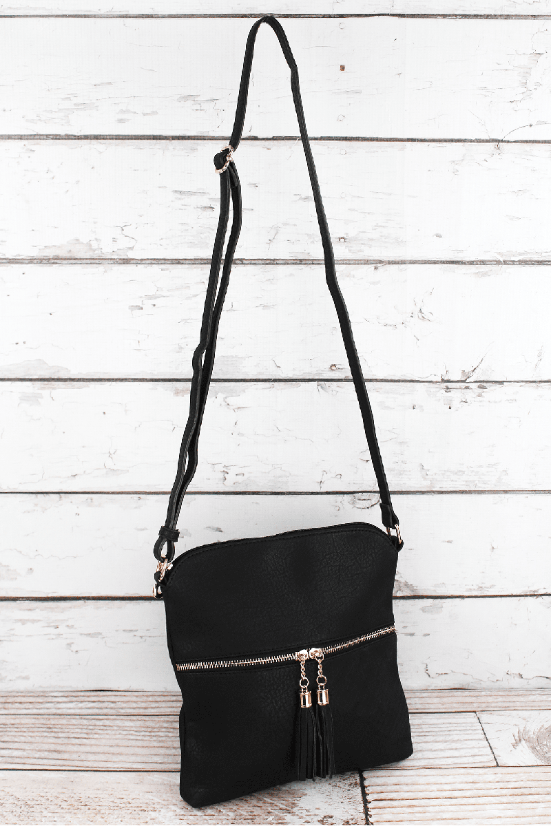 Black Faux Leather Tassel Crossbody Bag
