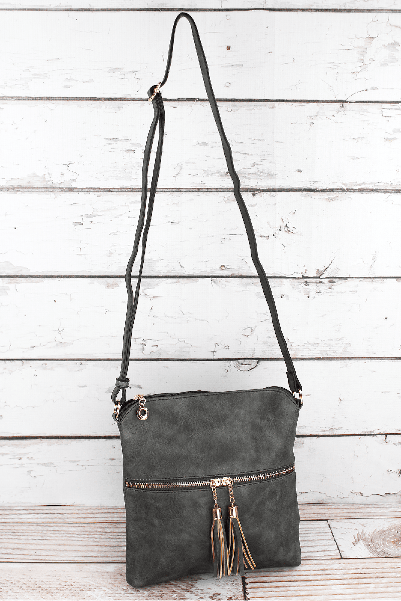 Gray Faux Leather Tassel Crossbody Bag