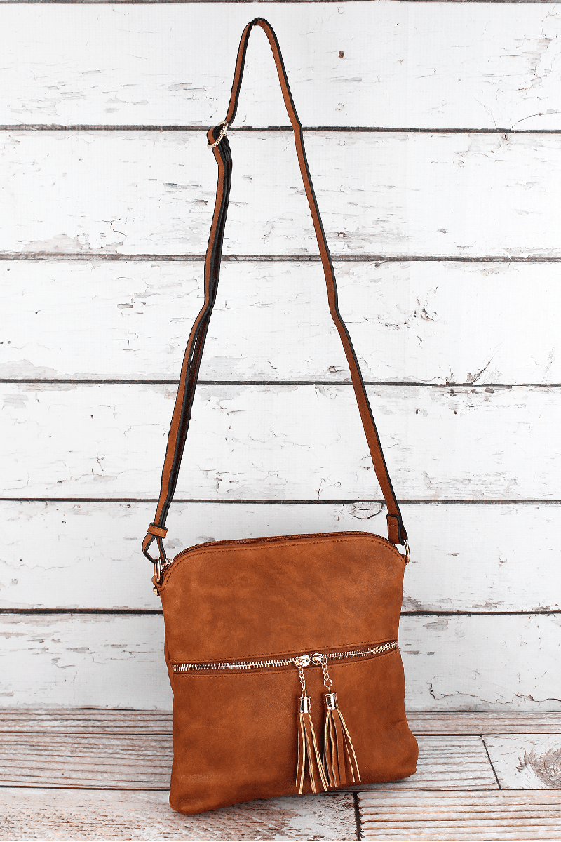 Light Brown Faux Leather Tassel Crossbody Bag