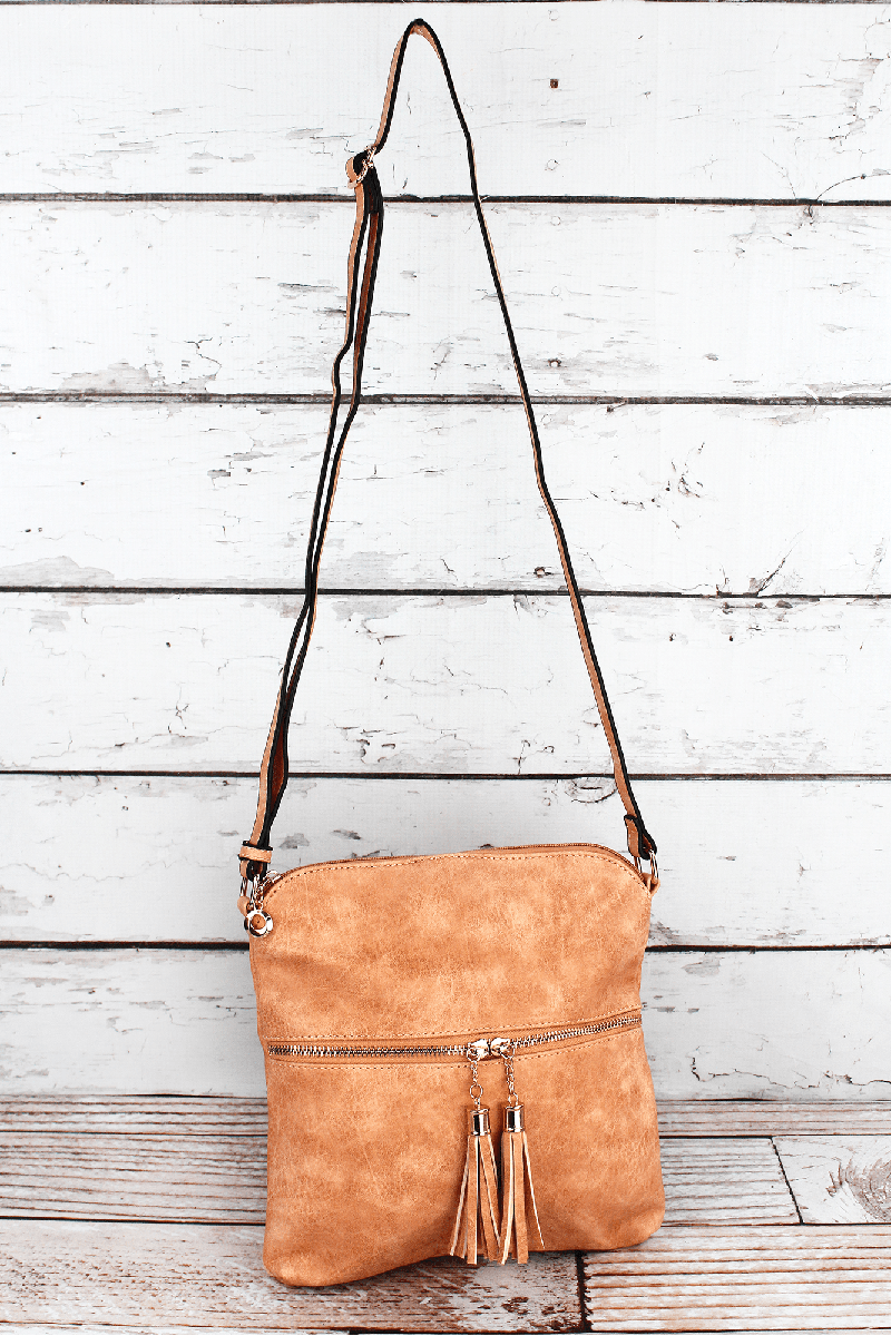 Pumpkin Faux Leather Tassel Crossbody Bag