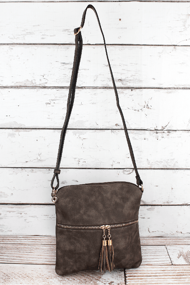 Taupe Gray Faux Leather Tassel Crossbody Bag