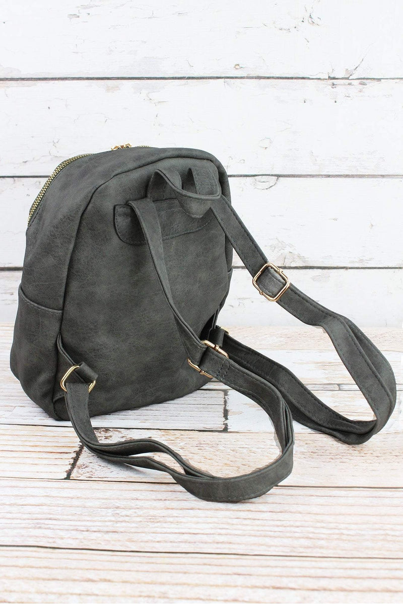 NGIL Dark Gray Faux Leather Small Backpack