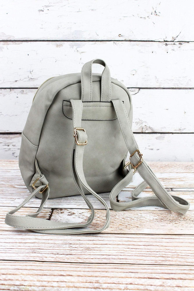 NGIL Gray Faux Leather Small Backpack