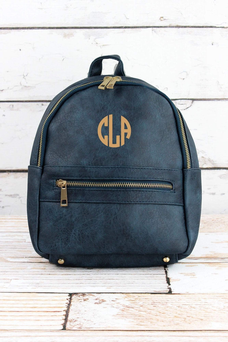 ab4ffe9c82 Navy Faux Leather Small Backpack