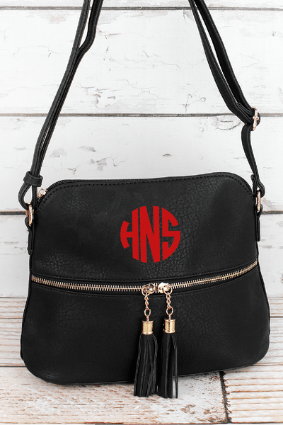 Black Faux Leather Crossbody Tassel Tote