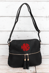 NGIL Black Faux Leather Crossbody Tassel Tote