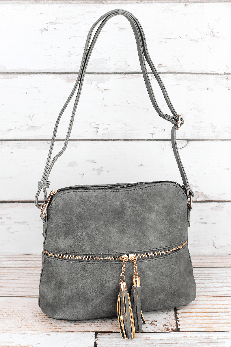 NGIL Gray Faux Leather Crossbody Tassel Tote