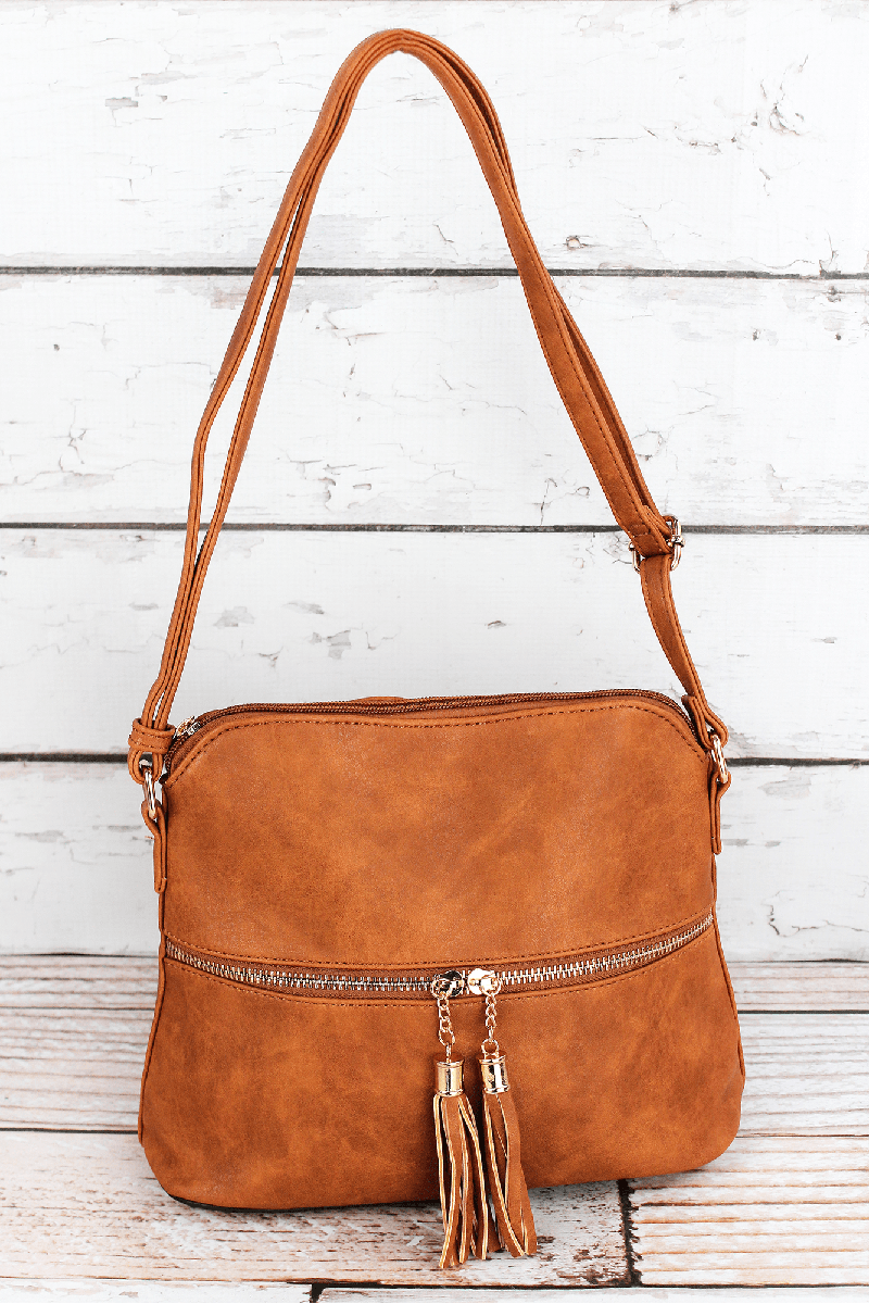 NGIL Light Brown Faux Leather Crossbody Tassel Tote