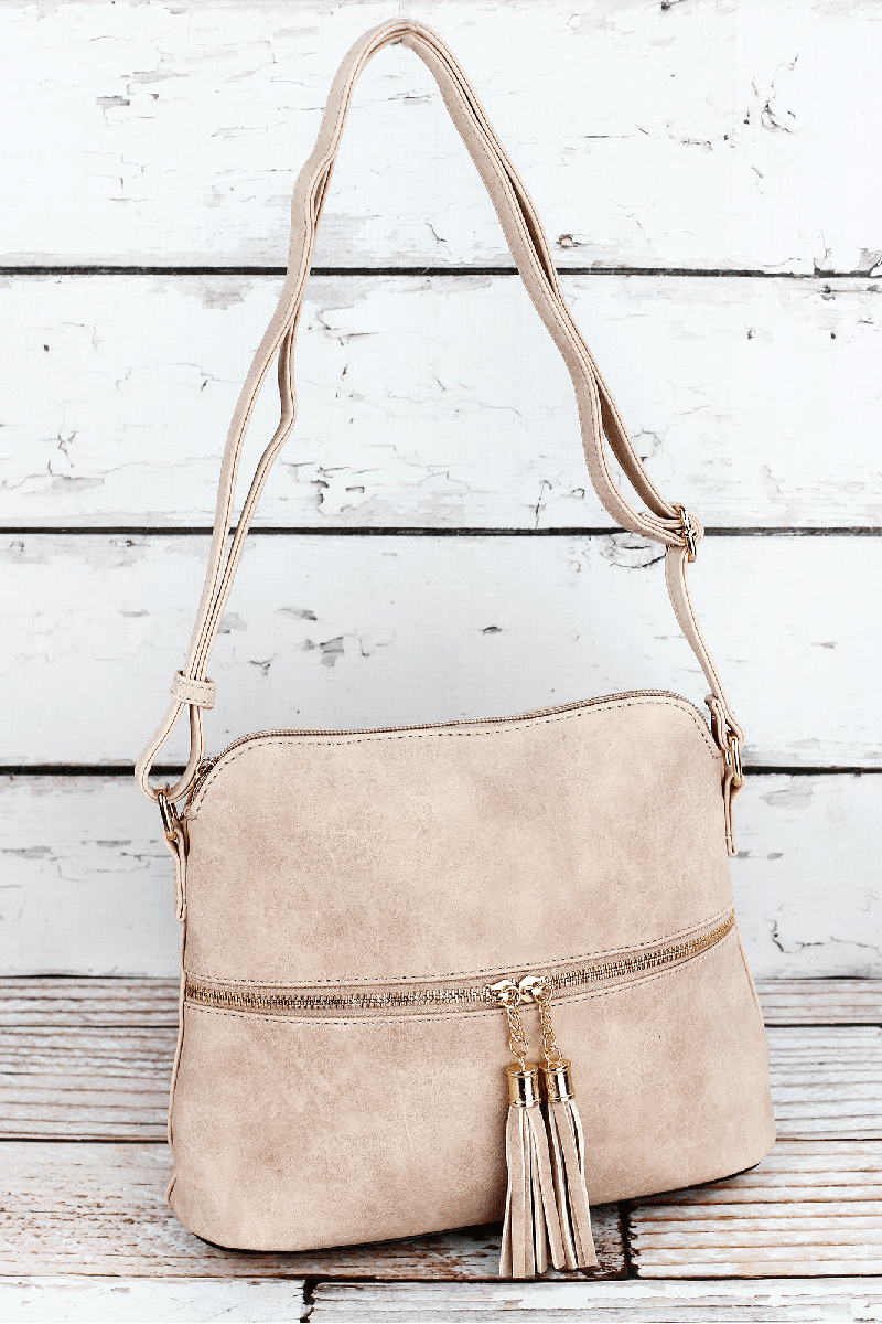 NGIL Sepia Faux Leather Crossbody Tassel Tote