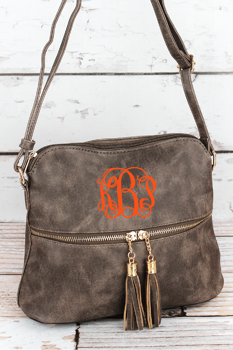 NGIL Taupe Gray Faux Leather Crossbody Tassel Tote