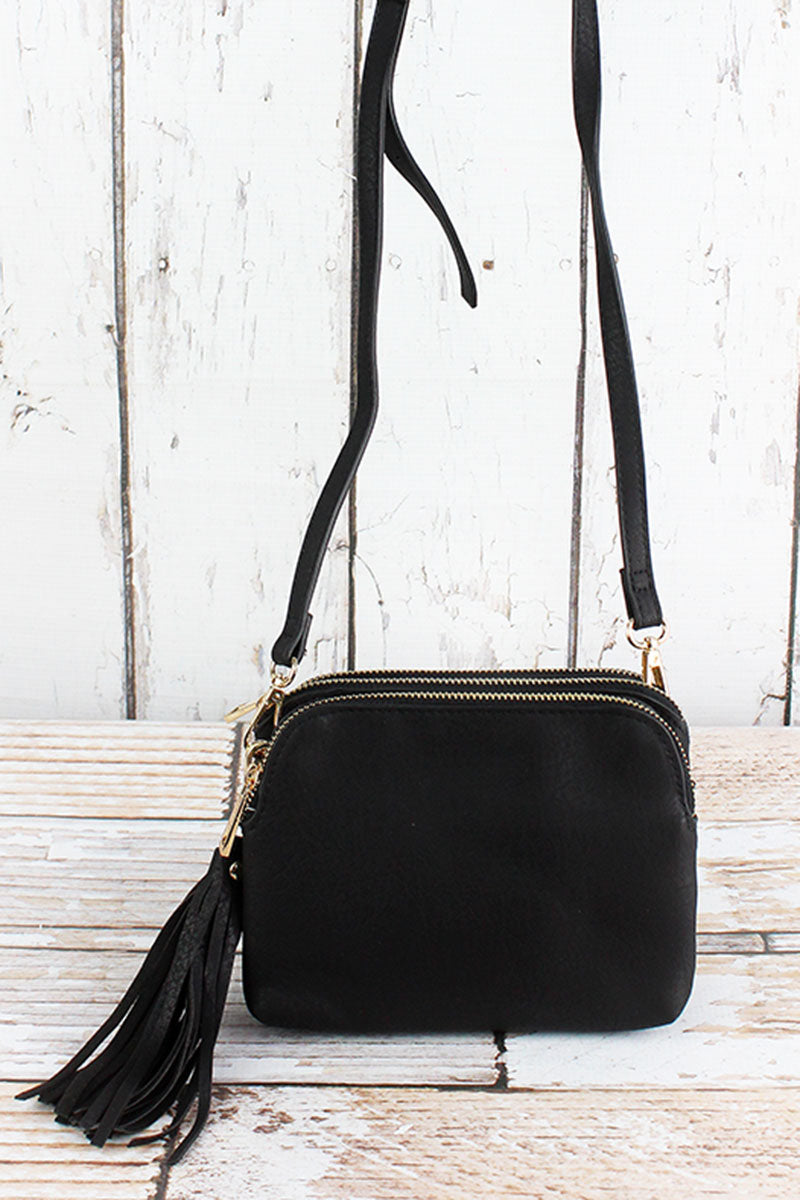 NGIL Black Faux Leather Triple Compartment Crossbody Bag