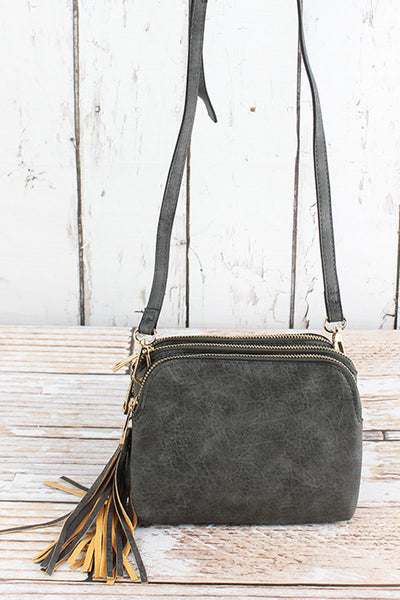 NGIL Dark Gray Faux Leather Triple Compartment Crossbody Bag