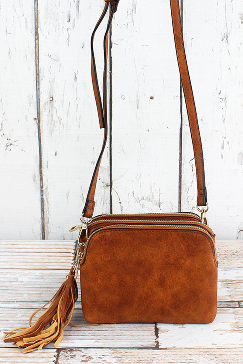 NGIL Light Brown Faux Leather Triple Compartment Crossbody Bag