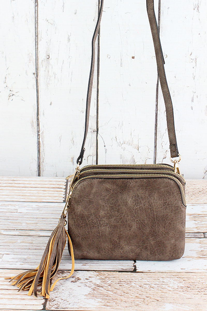 NGIL Taupe Gray Faux Leather Triple Compartment Crossbody Bag