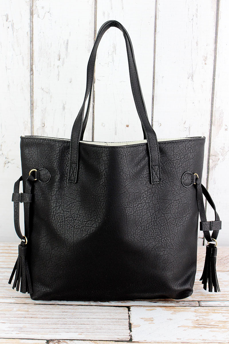 NGIL Black Faux Leather Side Tassel Tote