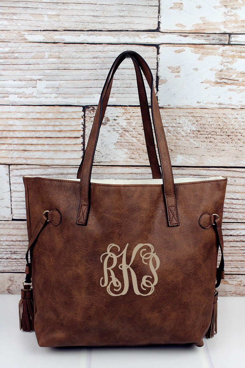 NGIL Brown Faux Leather Side Tassel Tote