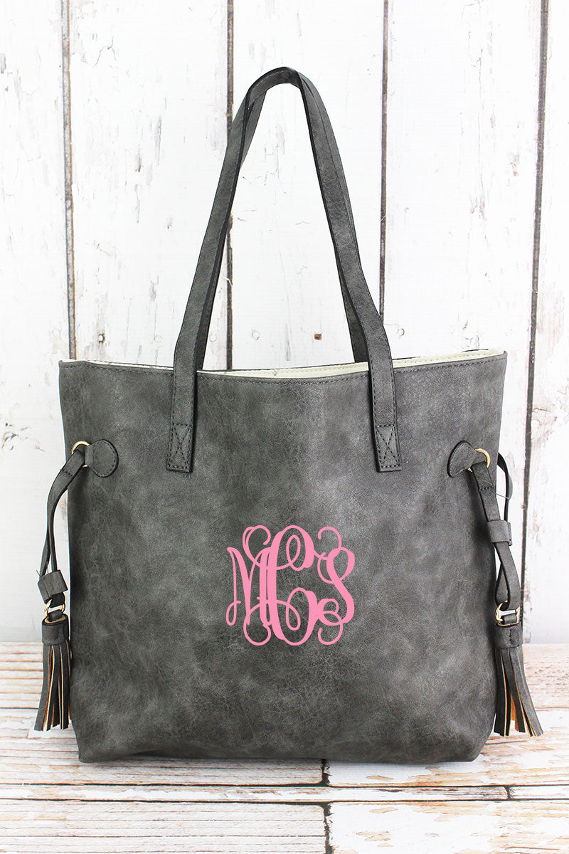 NGIL Dark Gray Faux Leather Side Tassel Tote