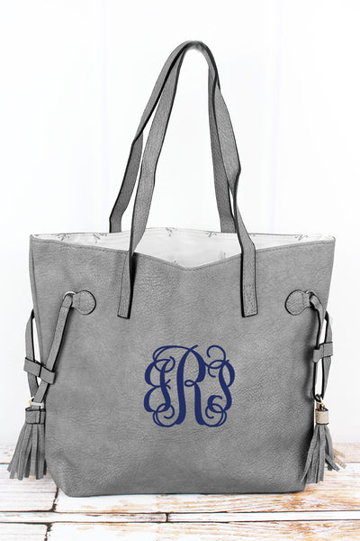 NGIL Gray Faux Leather Side Tassel Tote
