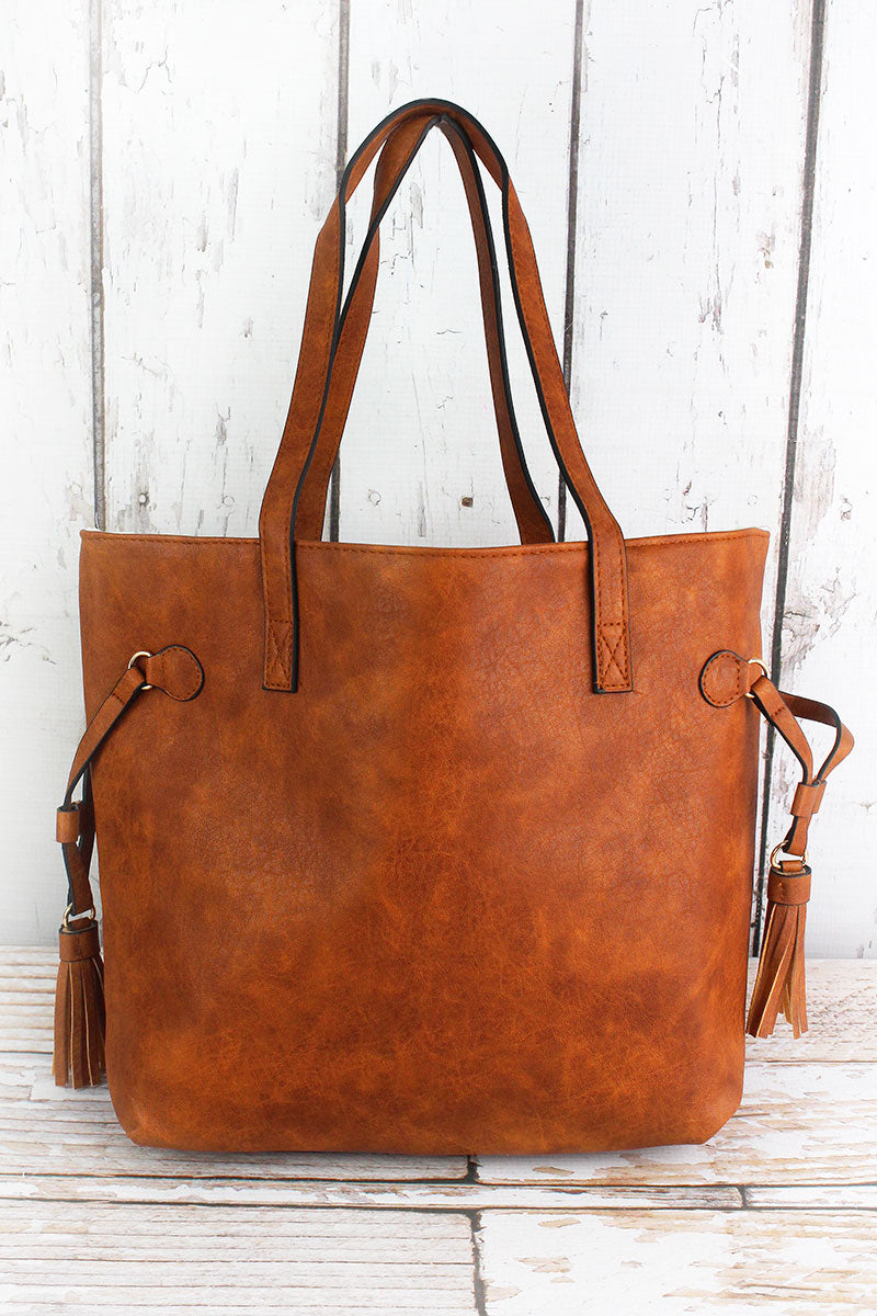 NGIL Light Brown Faux Leather Side Tassel Tote