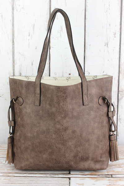 NGIL Taupe Gray Faux Leather Side Tassel Tote