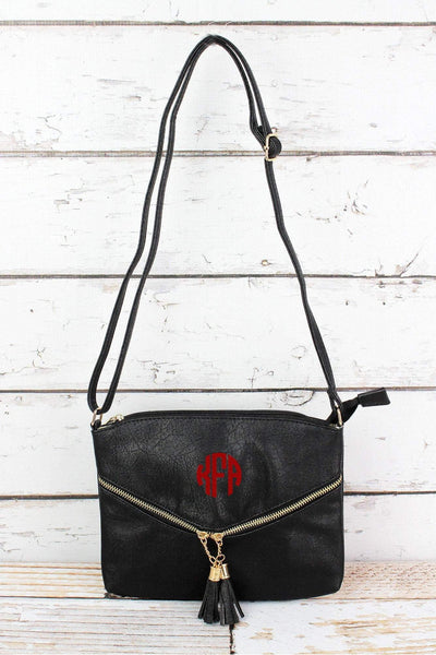 Black Faux Leather Double Tassel Pocket Crossbody Bag