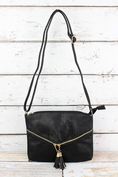 NGIL Black Faux Leather Double Tassel Pocket Crossbody Bag