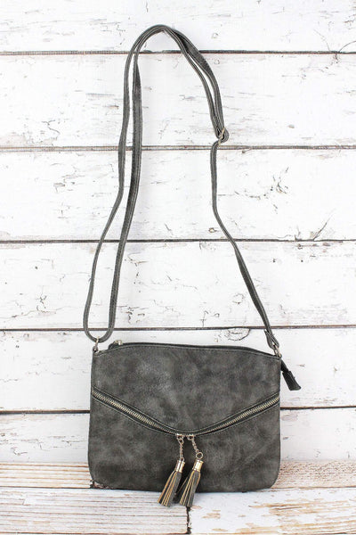 NGIL Taupe Gray Faux Leather Double Tassel Pocket Crossbody Bag