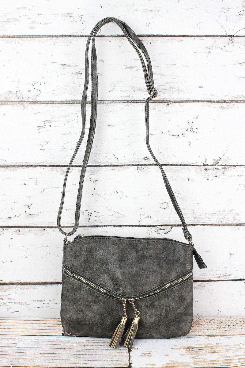Taupe Gray Faux Leather Double Tassel Pocket Crossbody Bag