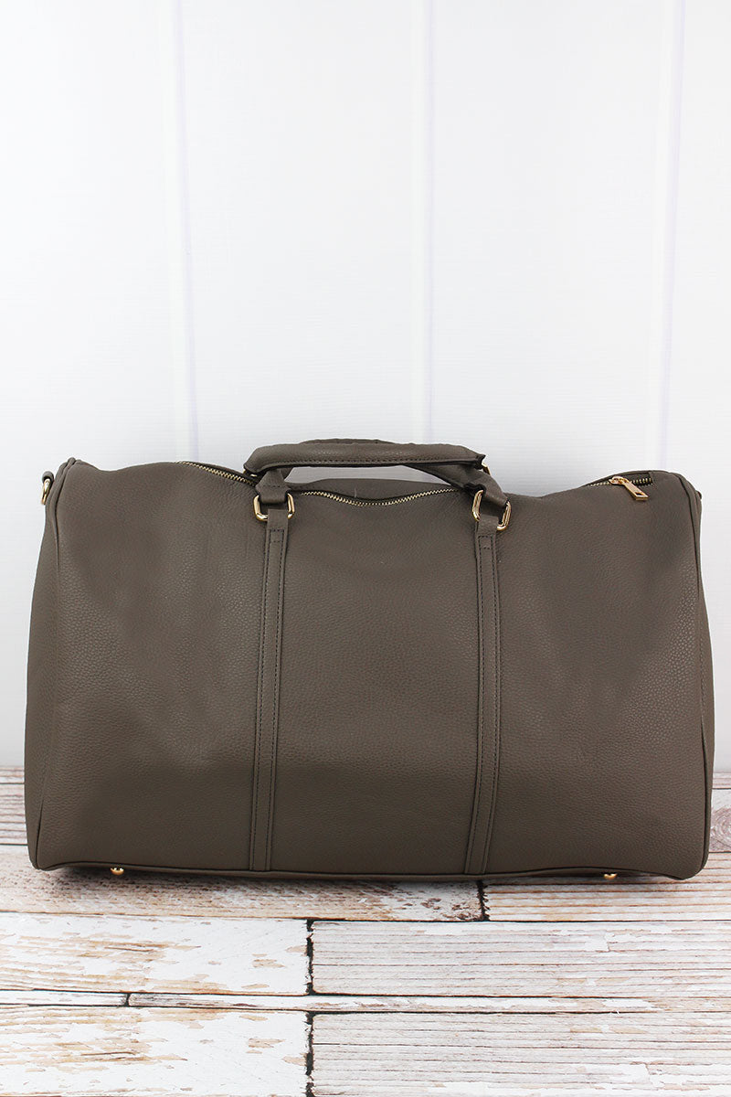 NGIL Dark Gray Faux Leather Weekender Duffle Bag