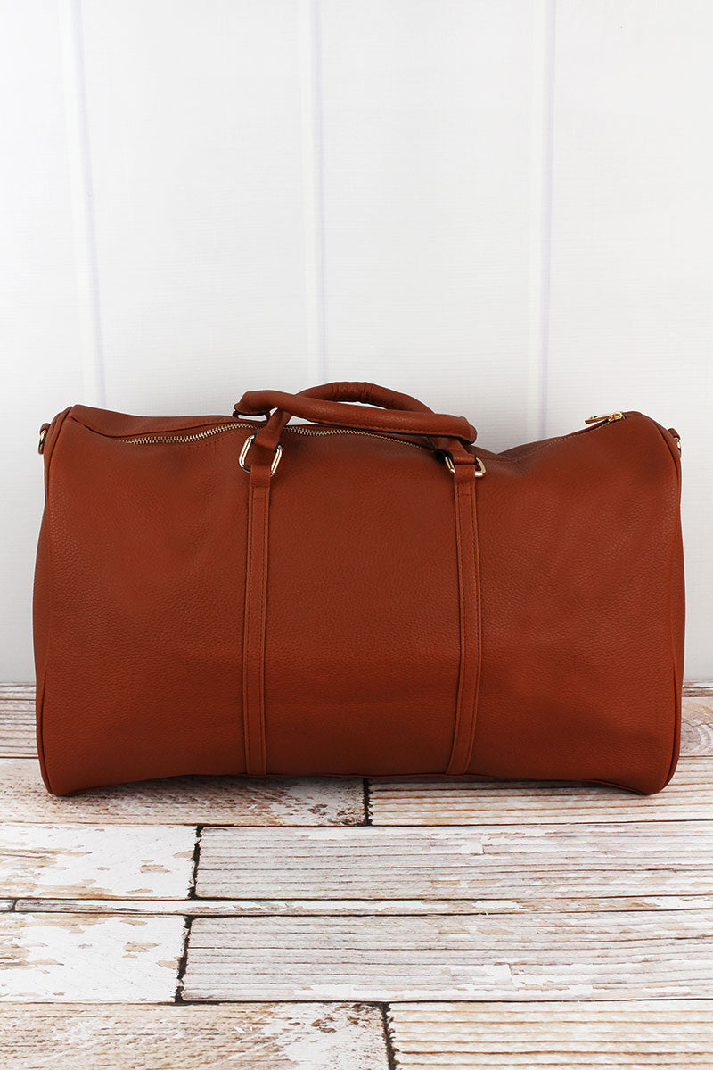 NGIL Light Brown Faux Leather Weekender Duffle Bag