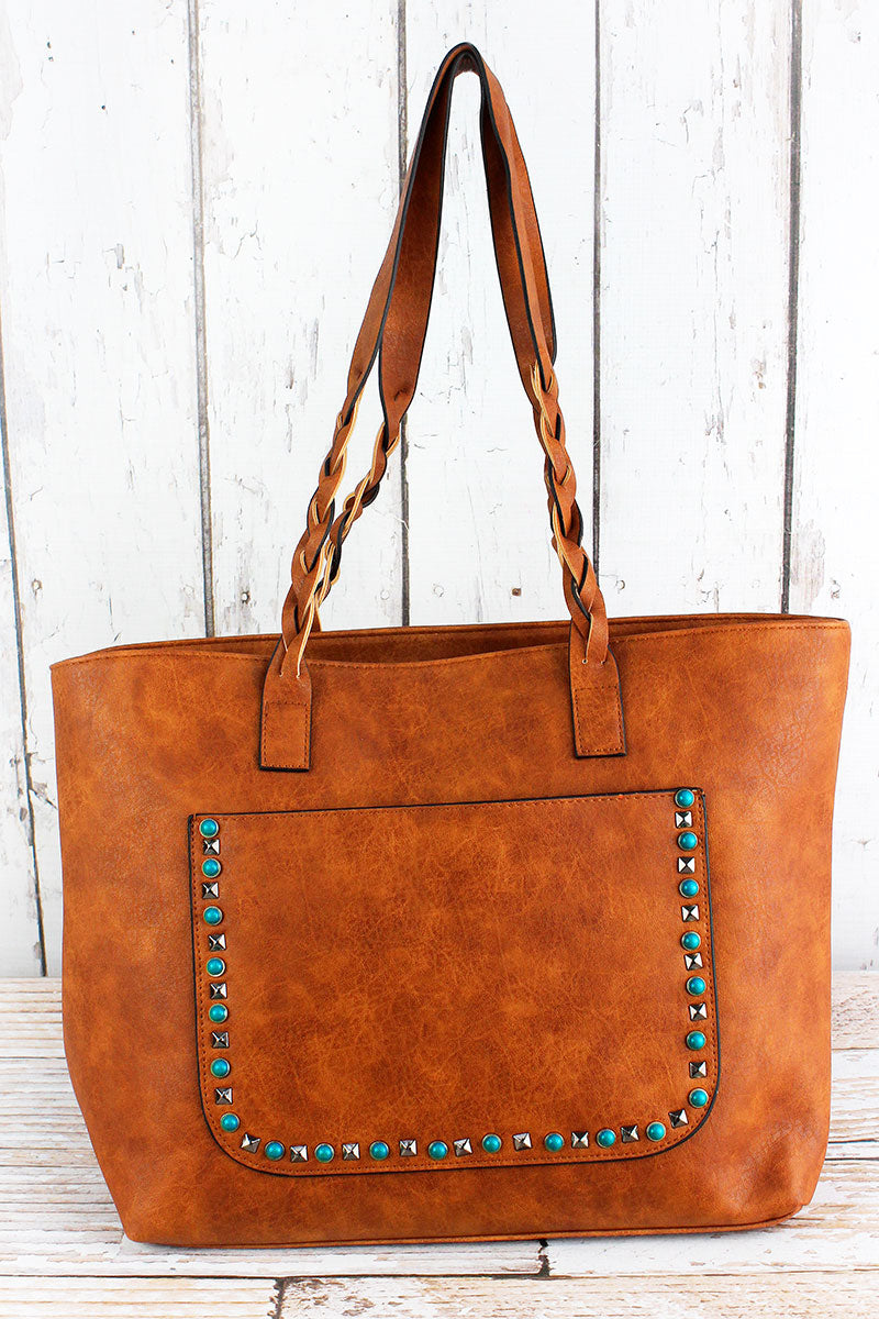 NGIL Turquoise Studded Front Pocket Light Brown Faux Leather Bag