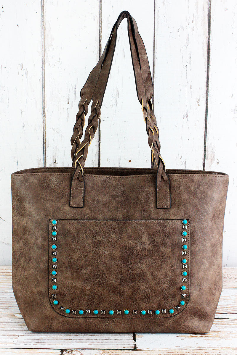 NGIL Turquoise Studded Front Pocket Taupe Gray Faux Leather Bag
