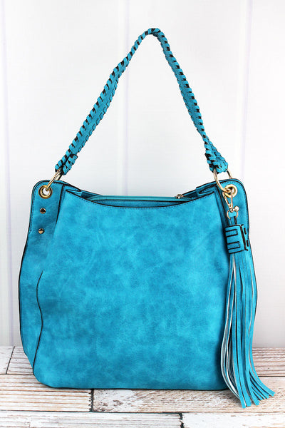 NGIL Turquoise Faux Leather Whipstitch Strap Tassel Tote