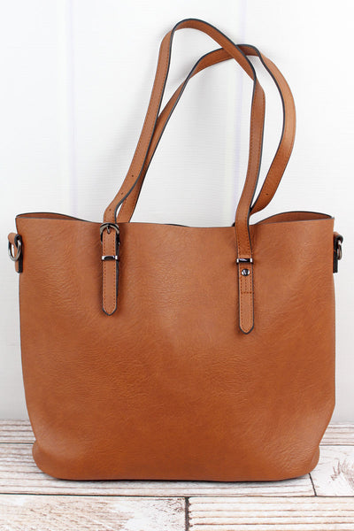 NGIL Light Brown Faux Leather Buckle Strap Tote Bag