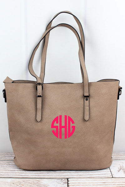 Taupe Gray Faux Leather Buckle Strap Tote Bag