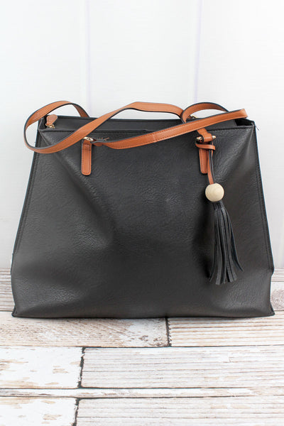 NGIL Black Faux Leather Wood Bead Tassel Tote Bag