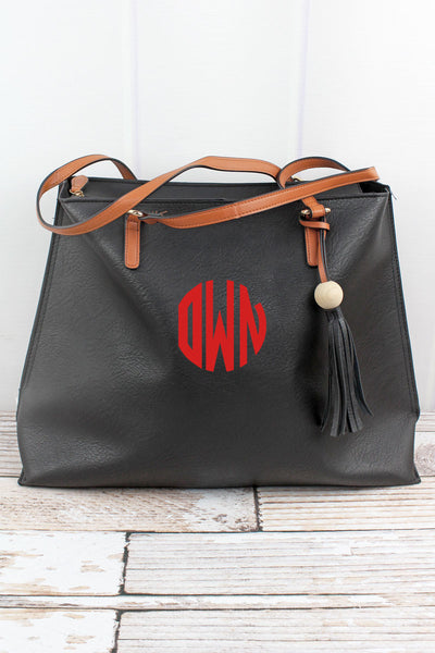 Black Faux Leather Wood Bead Tassel Tote Bag