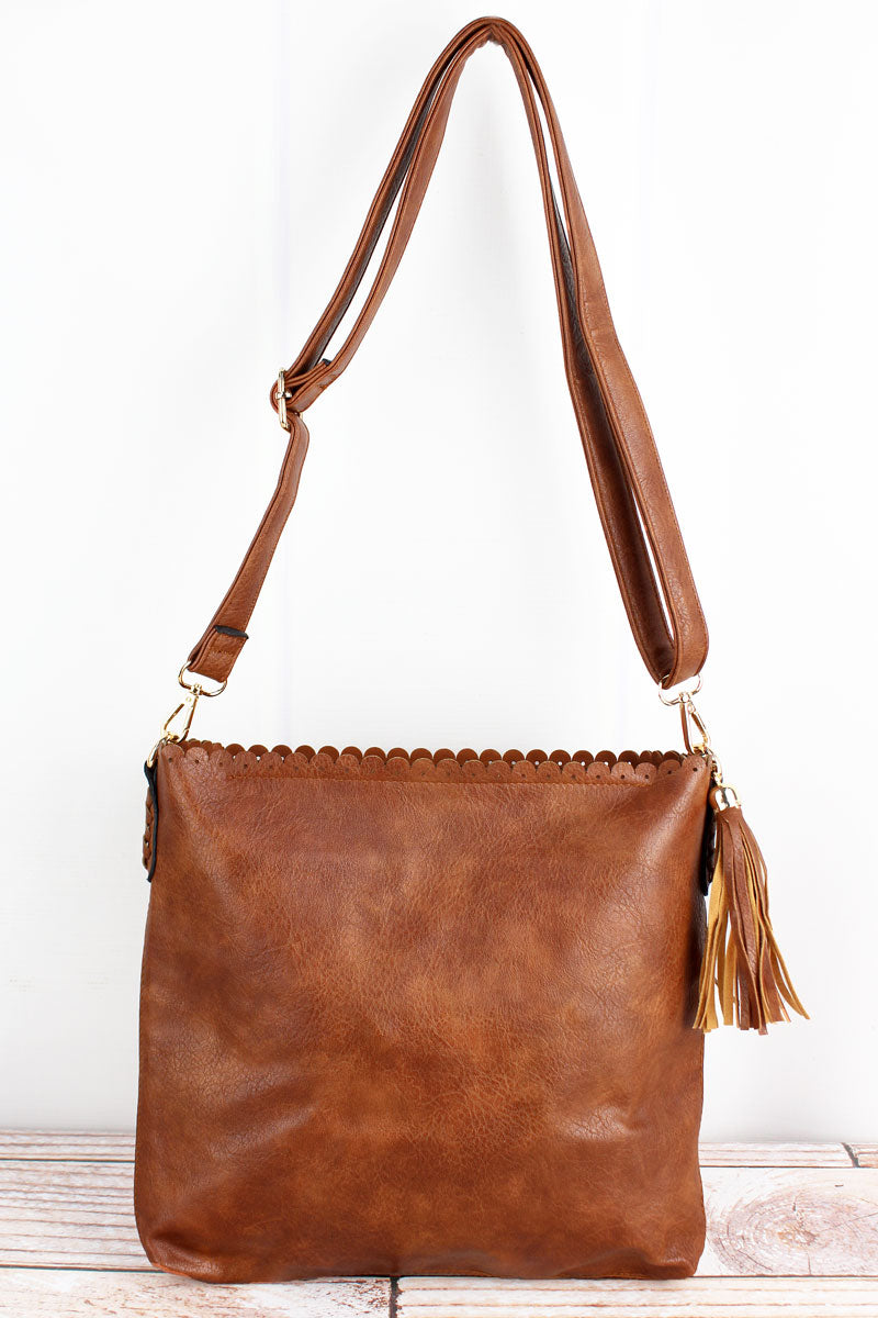 NGIL Brown Faux Leather Scalloped Top Tassel Crossbody Tote