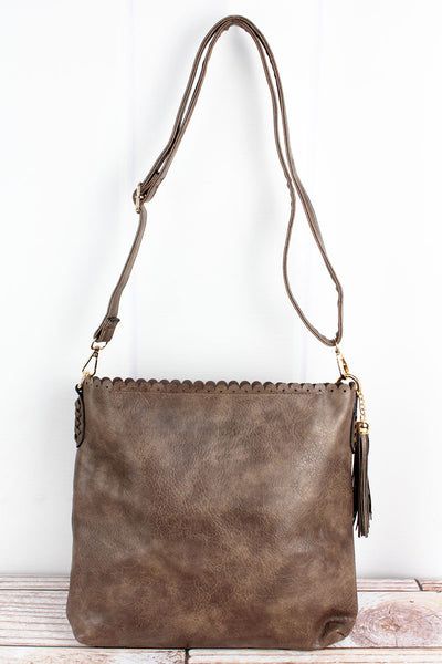 NGIL Chocolate Faux Leather Scalloped Top Tassel Crossbody Tote
