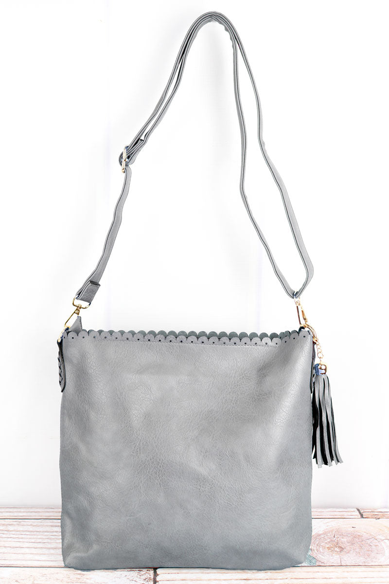 NGIL Gray Faux Leather Scalloped Top Tassel Crossbody Tote