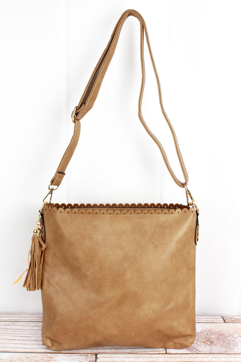 NGIL Light Brown Faux Leather Scalloped Top Tassel Crossbody Tote