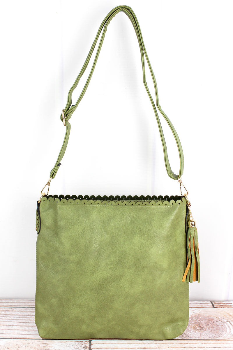 NGIL Olive Faux Leather Scalloped Top Tassel Crossbody Tote