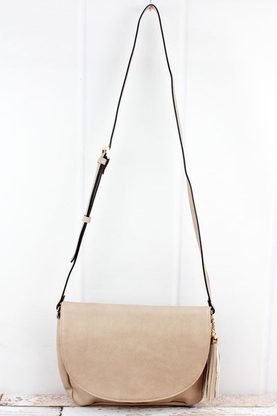 NGIL Sepia Faux Leather Tassel Envelope Crossbody