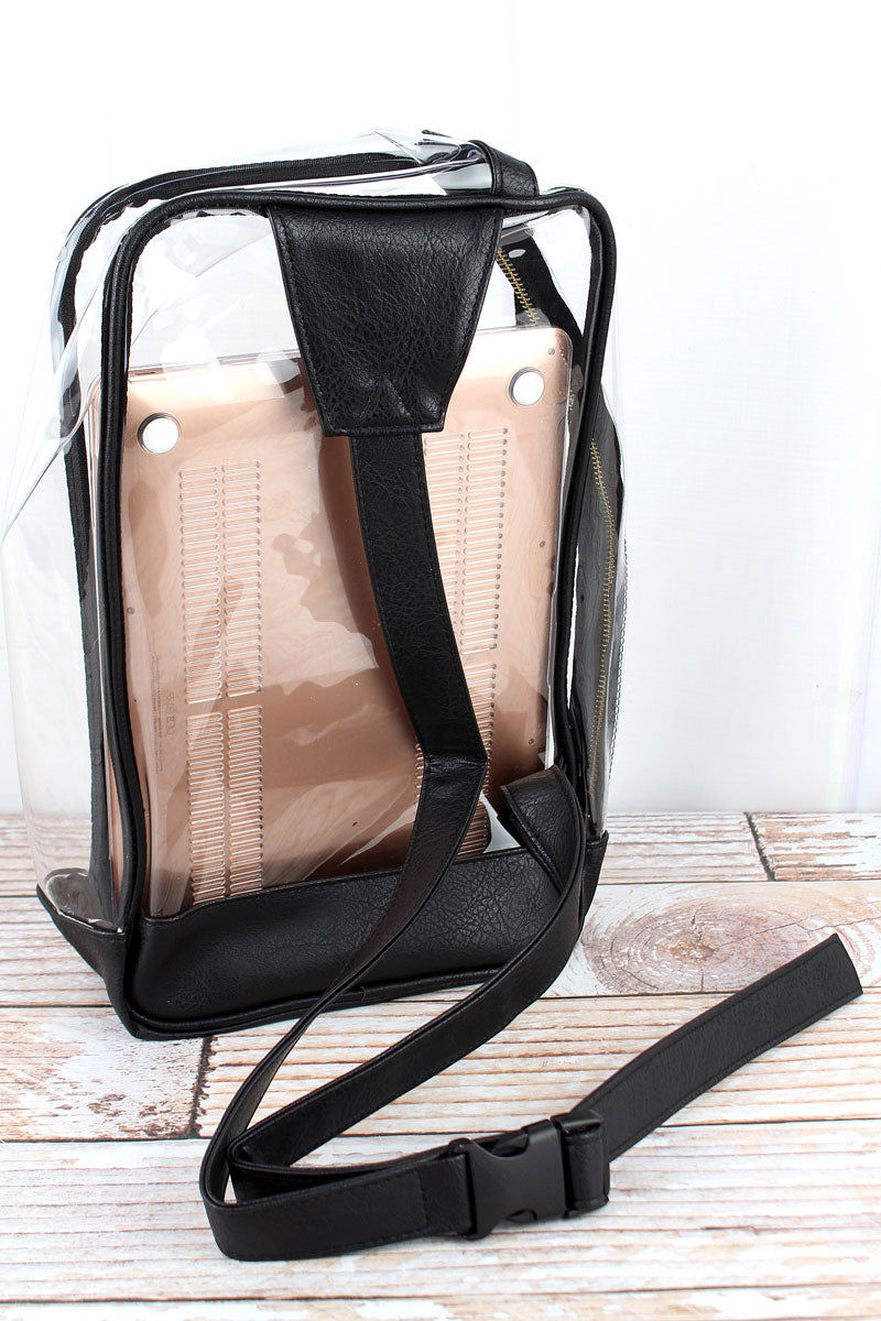 NGIL Clear Sling Backpack with Black Trim