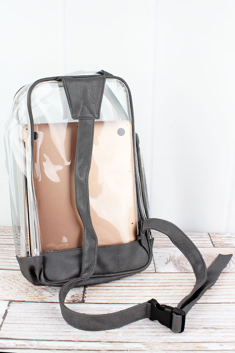 NGIL Clear Sling Backpack with Dark Gray Trim