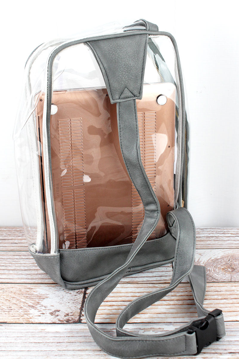 NGIL Clear Sling Backpack with Gray Trim