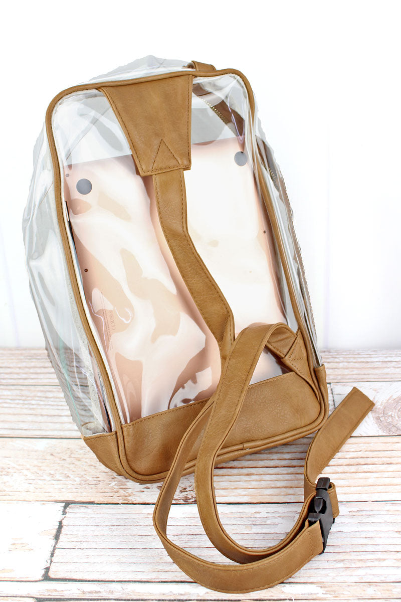 NGIL Clear Sling Backpack with Light Brown Trim