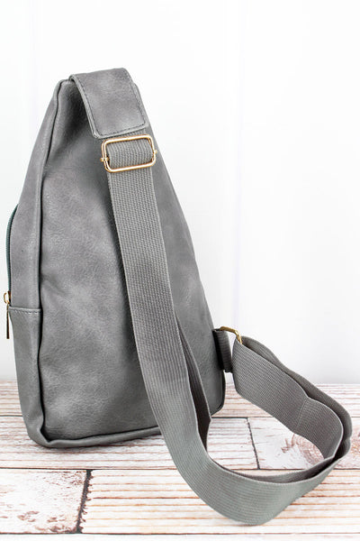 NGIL Gray Faux Leather Small Sling Backpack