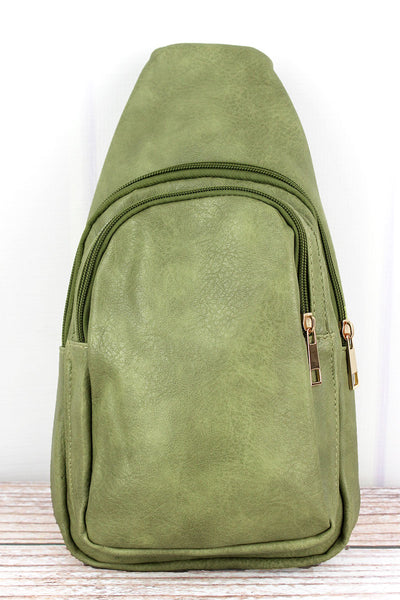 NGIL Olive Faux Leather Small Sling Backpack